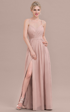 A-Line/Princess Sweetheart Floor-Length Chiffon Bridesmaid Dress With Ruffle Split Front (007117361)