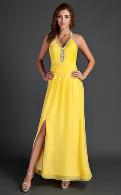 A-Line/Princess Halter Ankle-Length Chiffon Holiday Dress With Ruffle Beading Split Front (020015530)