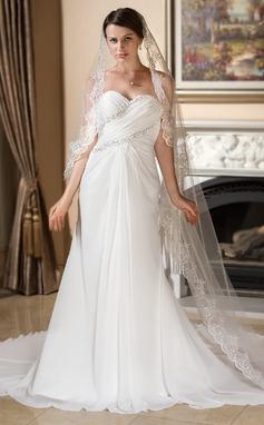 Corte A/Princesa Escote corazón Cola watteau Chifón Vestido de novia con Volantes Encaje Bordado (002011577)