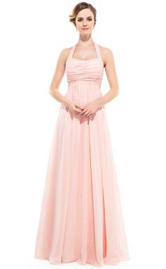 Empire Halter Floor-length Crinkle Chiffon Bridesmaid Dress (007051138)