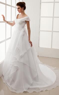 A-Line/Princess Off-the-Shoulder Chapel Train Organza Wedding Dress With Ruffle (002012708)