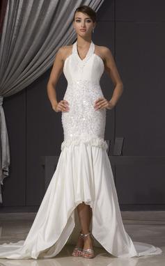 Раструб/Платье-русалка С бретелью через шею Асимметричный Тафта Свадебные Платье с Бисер Цветы блестками (002014475)