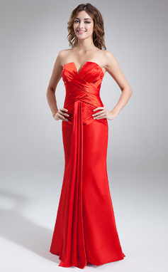 Trumpet/Mermaid V-neck Floor-Length Charmeuse Holiday Dress With Ruffle (020036594)