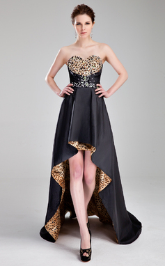 A-Line/Princess Sweetheart Asymmetrical Taffeta Prom Dress With Beading (018018866)