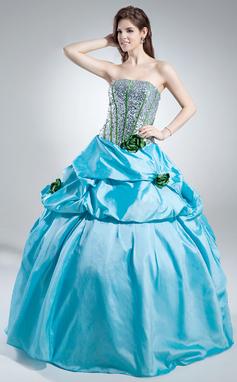 Платье для Балла Без лямок Длина до пола Тафта С блестками Пышное платье с Рябь Цветы (021016040)