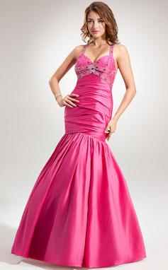 Trumpet/Mermaid Halter Floor-Length Taffeta Prom Dress With Ruffle Beading (018135247)