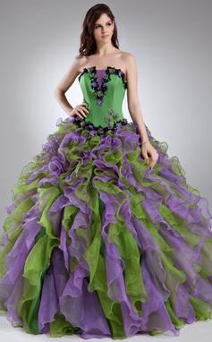 Платье для Балла Волнистый Длина до пола Органза Пышное платье с Бисер аппликации кружева Цветы Ниспадающие оборки (021015944)