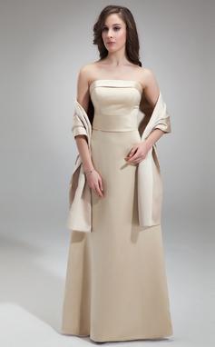 Sheath/Column Strapless Floor-Length Satin Bridesmaid Dress (007001827)