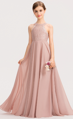 A-Linie U-Ausschnitt Bodenlang Chiffon Spitze Kleid für junge Brautjungfern (009191736)