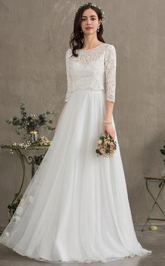Трапеция возлюбленная Длина до пола Тюль Свадебные Платье (002187044)