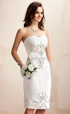 Forme Fourreau Amoureux Longueur genou Satiné Robe de mariée avec Brodé Paillettes (002012673)