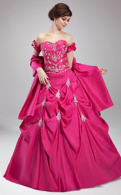 Tanssiaismekot Kullanmuru Lattiaa hipova pituus Tafti Quinceanera mekko jossa Kirjailtu Rypytys Helmikuvoinnit (021003148)