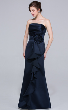 Sheath/Column Strapless Floor-Length Satin Bridesmaid Dress With Flower(s) Cascading Ruffles (007037224)