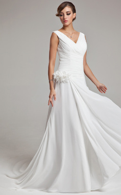 A-Line/Princess V-neck Chapel Train Chiffon Wedding Dress With Feather Flower(s) Cascading Ruffles (002011459)