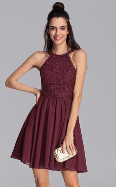 Corte A Decote redondo Curto/Mini Tecido de seda Vestido de boas vindas (022206544)