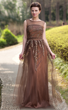 A-Line/Princess Scoop Neck Floor-Length Tulle Mother of the Bride Dress With Beading Appliques Lace Sequins (008022938)