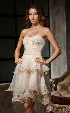 Vestidos princesa/ Formato A Coração Coquetel Organza de Vestido de boas vindas com Pregueado Bordado Apliques de Renda (022009260)