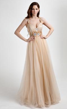 Corte A/Princesa Escote en V Hasta el suelo Tul Vestido de baile de promoción con Volantes Bordado (018015818)