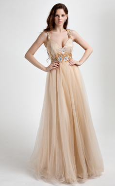 Corte A/Princesa Escote en V Vestido Tul Vestido de baile de promoción con Volantes Bordado (018015818)