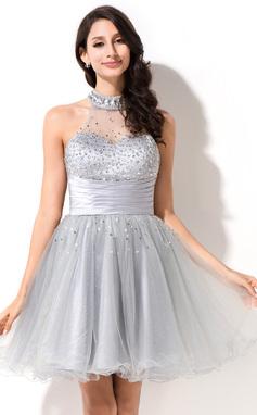 Vestidos princesa/ Formato A Decote redondo Curto/Mini Tule Vestido de boas vindas com Bordado Lantejoulas (022051547)
