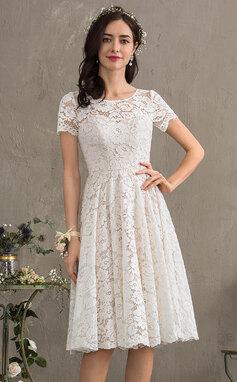 Трапеция Круглый Длина до колен Кружева Свадебные Платье (002186381)