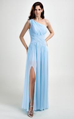 Corte A/Princesa Un sólo hombro Hasta el suelo Chifón Vestido de baile de promoción con Volantes Apertura frontal (018015793)