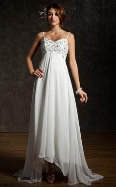 Empire Sweetheart Asymmetrical Chiffon Wedding Dress With Ruffle Lace Beading Sequins (002001659)