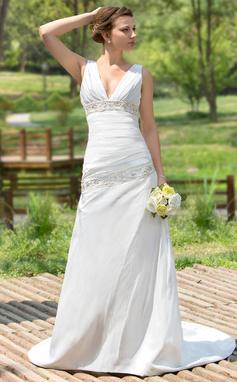 Трапеция/Принцесса V-образный Церемониальный шлейф Тафта Свадебные Платье с Рябь развальцовка блестки (002001407)
