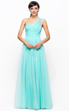 A-Line/Princess One-Shoulder Floor-Length Tulle Bridesmaid Dress With Ruffle (007056716)