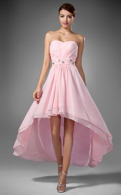 Corte A/Princesa Escote corazón Asimétrico Chifón Vestido de baile de promoción con Volantes Bordado (018005104)