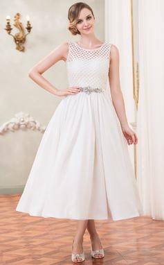 Vestidos princesa/ Formato A Decote redondo Comprimento médio Tafetá Renda Vestido de noiva com Bordado Lantejoulas (002050389)