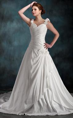 Vestidos princesa/ Formato A Coração Cauda longa Tafetá Vestido de noiva com Pregueado fecho de correr (002011590)