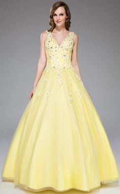 Ball-Gown V-neck Floor-Length Tulle Prom Dress With Lace Beading Sequins (017045177)