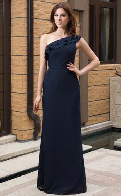 Sheath/Column One-Shoulder Floor-Length Chiffon Bridesmaid Dress With Cascading Ruffles (007027161)