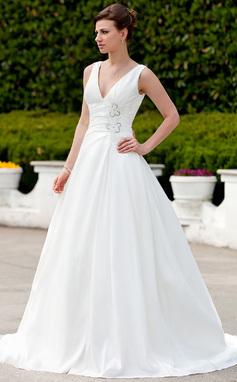 A-Line/Princess V-neck Court Train Taffeta Wedding Dress With Ruffle Beading (002001342)