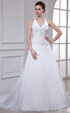 A-Line/Princess Halter Chapel Train Chiffon Wedding Dress With Embroidered Beading Sequins (002000549)