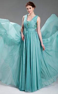 Vestidos princesa/ Formato A Decote V Longos De chiffon Vestido de festa com Pregueado Bordado Apliques de Renda (017019725)