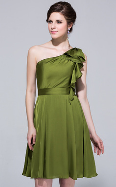 A-Line/Princess One-Shoulder Knee-Length Satin Chiffon Bridesmaid Dress With Cascading Ruffles (007037281)