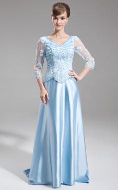 A-formet/Prinsesse V-hals Sweep/Børste train Charmeuse Kjole til brudens mor med Perlebesydd Applikasjoner Blonder Paljetter (008006181)