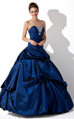 Duchesse-Linie Trägerlos Bodenlang Taft Quinceañera Kleid (Kleid für die Geburtstagsfeier) mit Rüschen Perlen verziert (021020667)