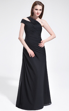 A-Line/Princess One-Shoulder Floor-Length Chiffon Bridesmaid Dress With Ruffle (007025352)