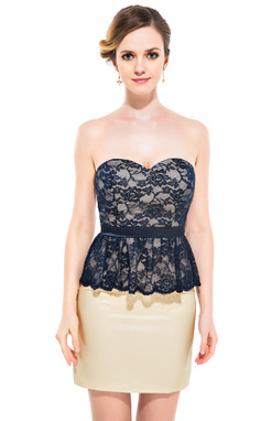 Forme Fourreau Bustier en coeur Court/Mini Mousseline Charmeuse Dentelle Robe de cocktail avec Robe à volants (016051144)
