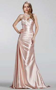 Vestidos princesa/ Formato A Coração Sweep/Brush trem Charmeuse Vestido de festa com Pregueado Bordado (017020330)