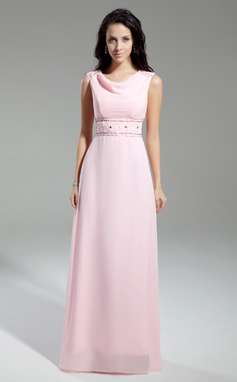 A-Line/Princess Cowl Neck Floor-Length Chiffon Mother of the Bride Dress With Beading (008014943)