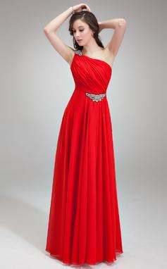 Forme Princesse Encolure asymétrique Longueur ras du sol Mousseline Robe de soirée avec Plissé Emperler (017018785)