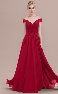 A-Line/Princess Off-the-Shoulder Floor-Length Chiffon Lace Prom Dress With Ruffle (018125031)