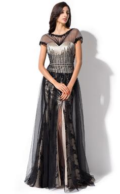 A-Linie/Princess-Linie U-Ausschnitt Sweep/Pinsel zug Tüll Charmeuse Spitze Abendkleid mit Rüschen Perlen verziert Pailletten Schlitz Vorn (017052693)