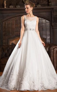 Balklänning Rund-urringning Court släp Tyll Bröllopsklänning med Spetsar Pärlbrodering Paljetter (002054363)