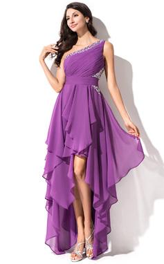 Vestidos princesa/ Formato A Um ombro Assimétrico De chiffon Vestido de boas vindas com Pregueado Bordado Lantejoulas (022051523)