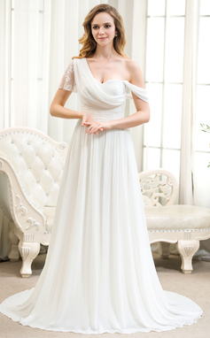 A-Line/Princess One-Shoulder Court Train Chiffon Lace Wedding Dress With Ruffle (002054365)